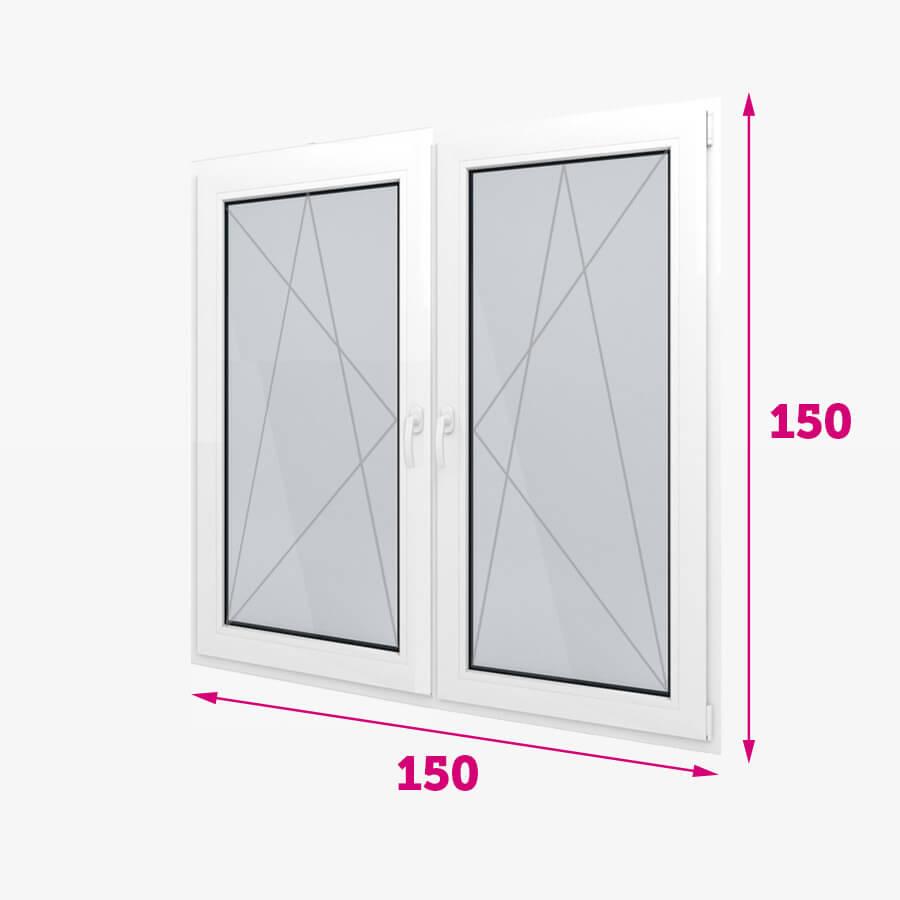 Dvojitá plastové okná 150x150cm