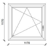 117x117 cm műanyag ablak