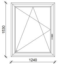 124x153 cm műanyag ablak