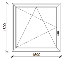 150x150 cm műanyag ablak