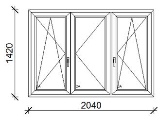 204x142 cm műanyag ablak