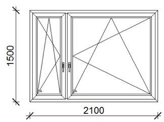 210x150 cm műanyag ablak