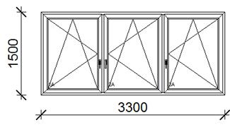 330x150 cm műanyag ablak