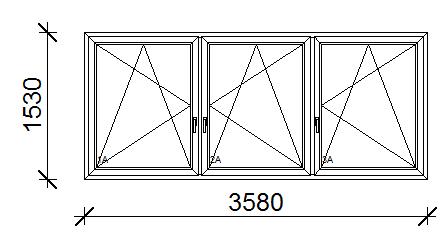 358x153 cm műanyag ablak