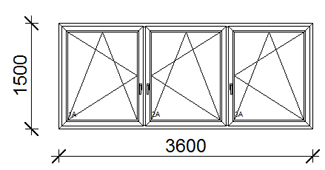 360x150 cm műanyag ablak