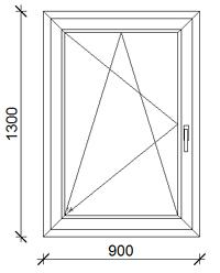 90x130  cm műanyag ablak