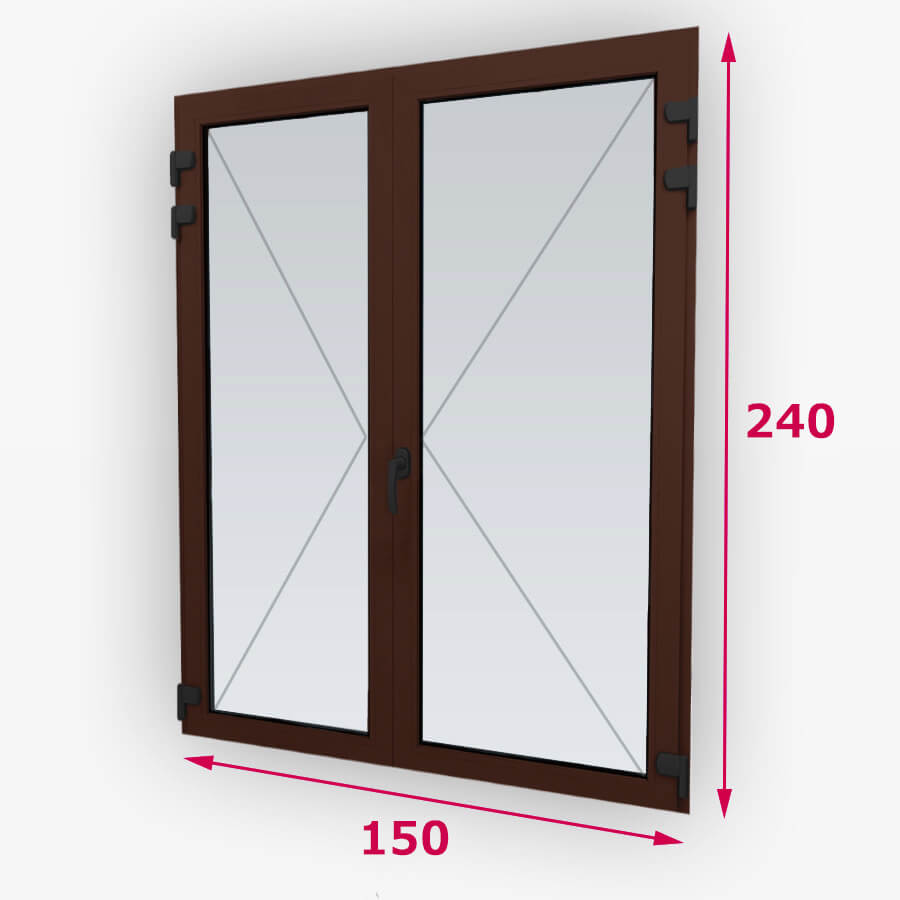 Középfelnyílós fa erkély ajtók 150x240cm