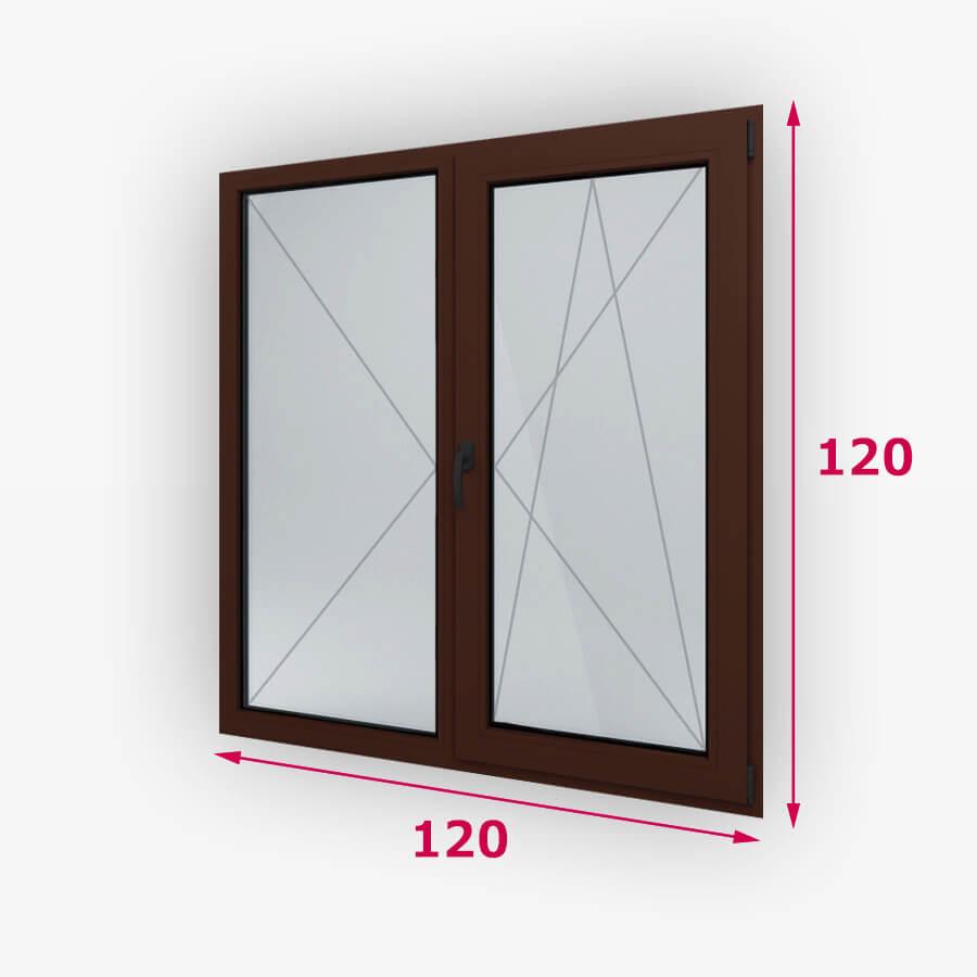 Középfelnyílós kétszárnyú fa ablak 120x120cm